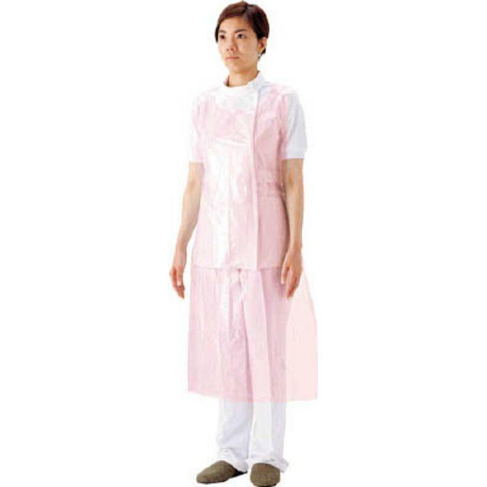 【入荷待ち】51076 プラスチックエプロン袖なしピンク (50枚入)
