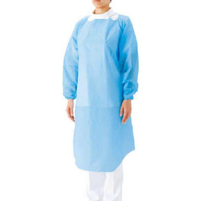 【入荷待ち】51096 プラスチックガウン 袖つき ブルーF (15枚入)