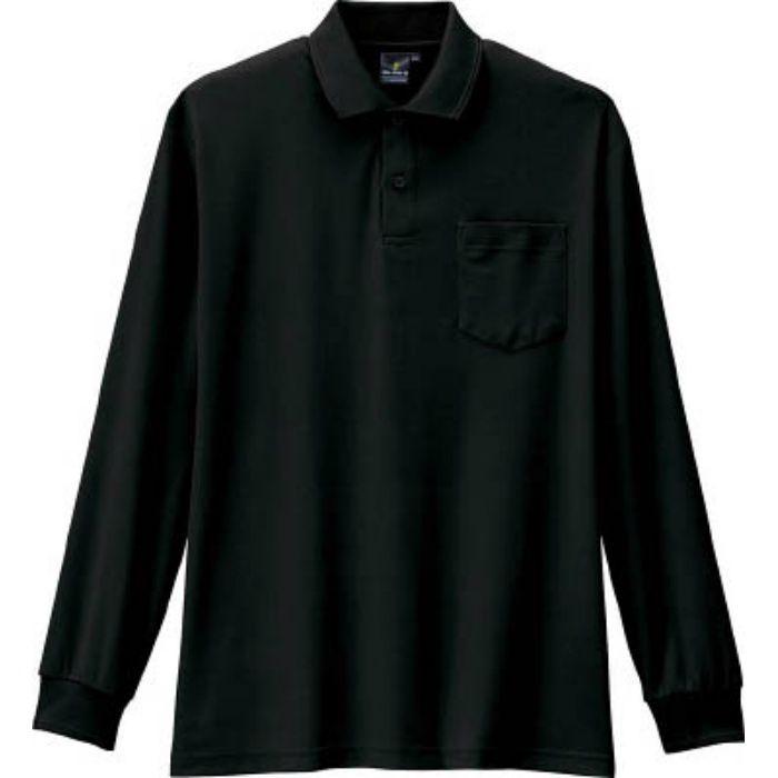 AS25813L 制電・防透・消臭長袖ポロシャツ 13ブラック L