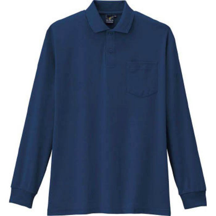 AS2581L 制電・防透・消臭長袖ポロシャツ 1ネイビー L