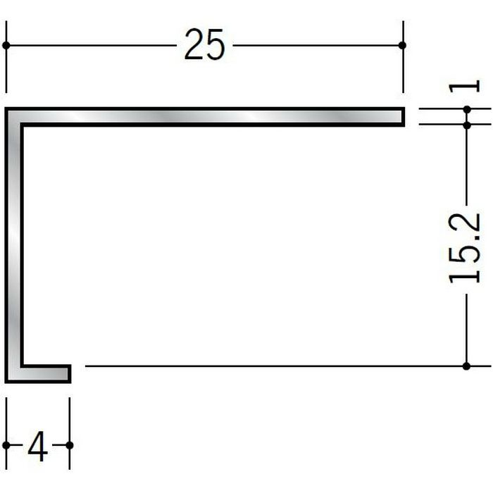 コ型見切縁 アルミ ATC-15 シルバー 3m  50034