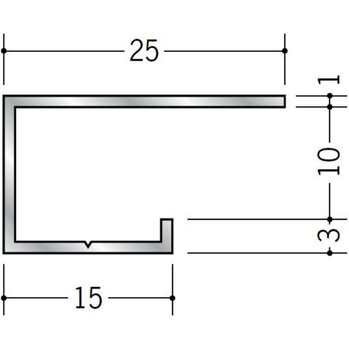 コ型見切縁 アルミ A型9.5(大) シルバー 3m  51031