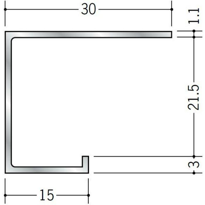コ型見切縁 アルミ A型20 シルバー 3m  51027