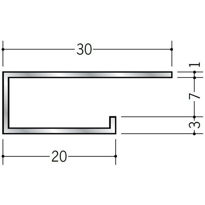 コ型見切縁 アルミ A型2007 シルバー 3m  51097