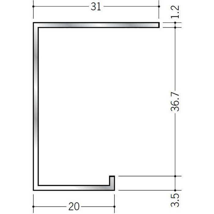 コ型見切縁 アルミ A型36 シルバー 3m  51028