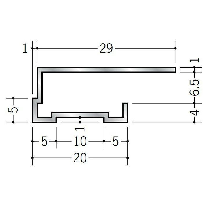 コ型見切縁 アルミ TLA-6 シルバー 3m  52271