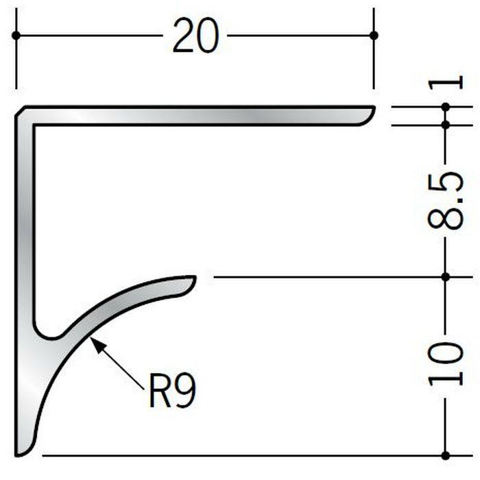 コ型見切縁 アルミ NR-8.5 シルバー 2.73m  54515