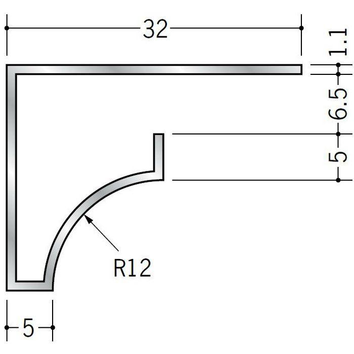 コ型見切縁 アルミ RSB-6.5 シルバー 3m  52023