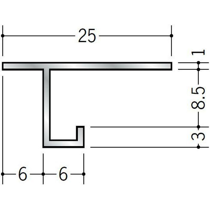 目透かし型見切縁 アルミ AMS-8 シルバー 3m  52207