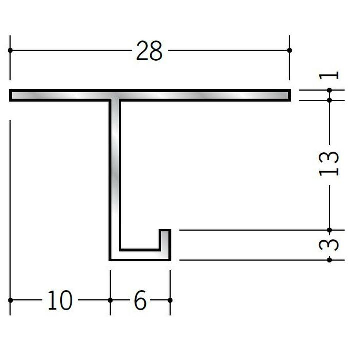 目透かし型見切縁 アルミ AMS-1012 シルバー 3m  50233