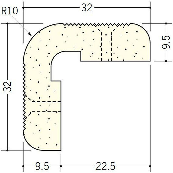 ペンキ・クロス下地材 出隅 ビニール PSコーナーWR 9.5mm ミルキー 2.6m  01284