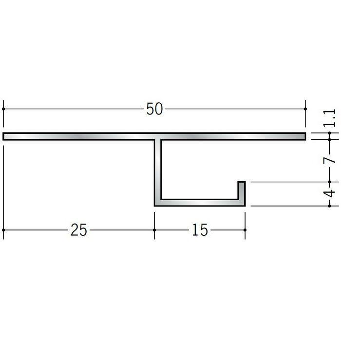 目透かし型見切縁 アルミ B型2506 シルバー 3m  50241