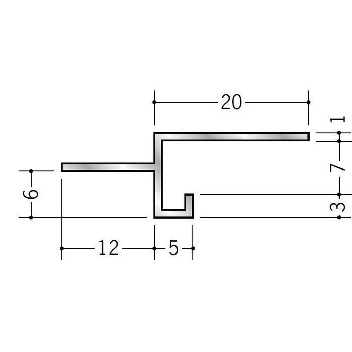 目透かし型見切縁 アルミ SBM-6 シルバー 3m  51124