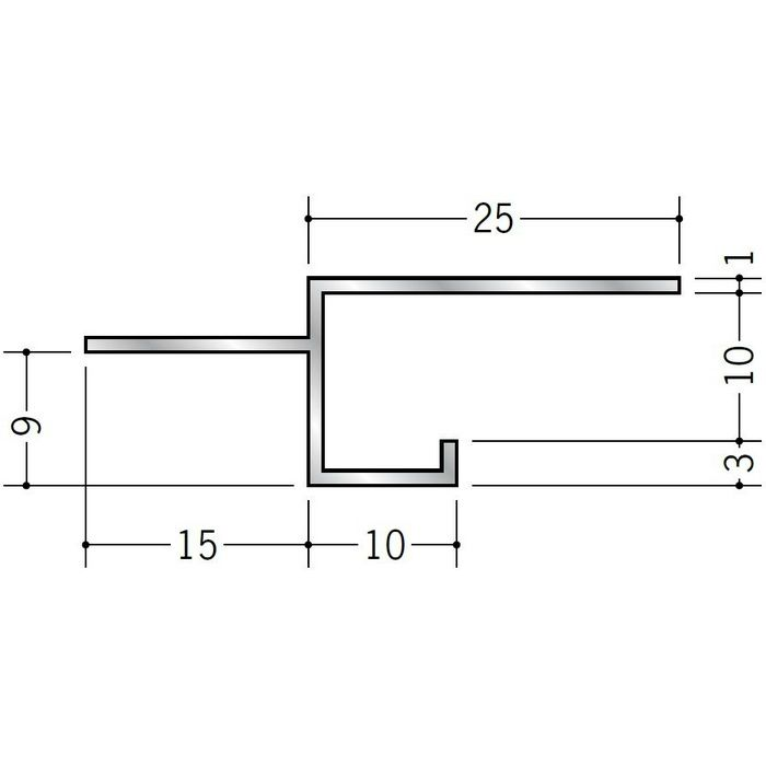 目透かし型見切縁 アルミ BMV-10 シルバー 3m  50253