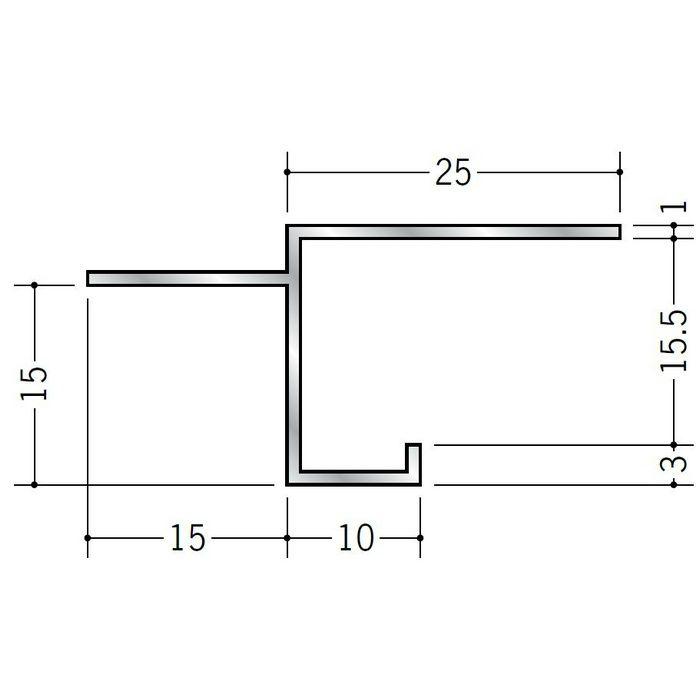 目透かし型見切縁 アルミ BMV-15.5 シルバー 3m  50255