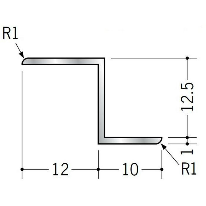 目透かし型見切縁 アルミ Zバー12.5Z シルバー 3m  58096