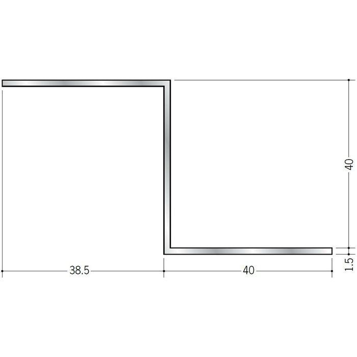 目透かし型見切縁 アルミ Zバー40Z シルバー 3m  58103