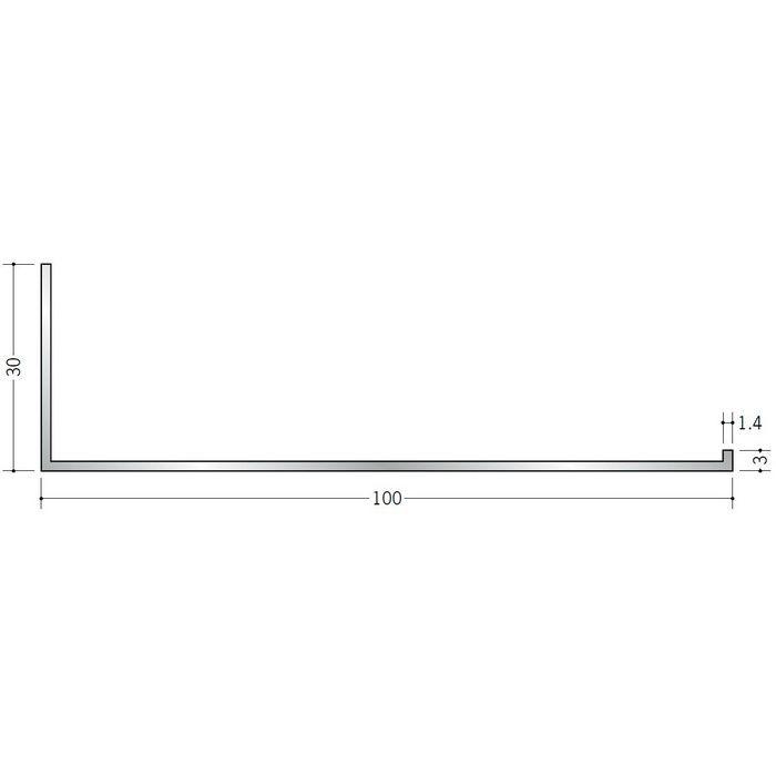 壁付け型見切縁 アルミ C型-100 シルバー 3m  52150