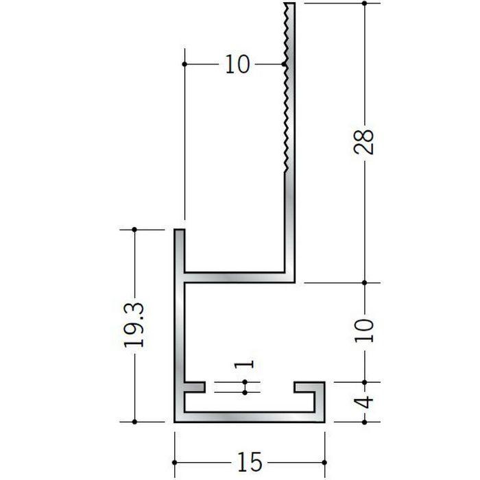 下がり壁用見切縁 アルミ D型10 シルバー 3m  52077