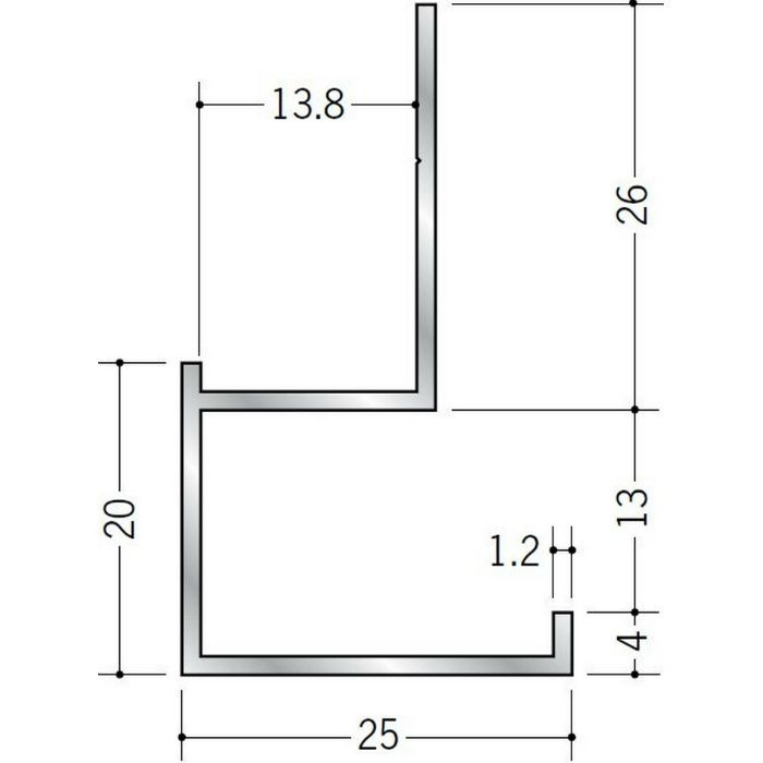 下がり壁用見切縁 アルミ D型13 シルバー 3m  52078