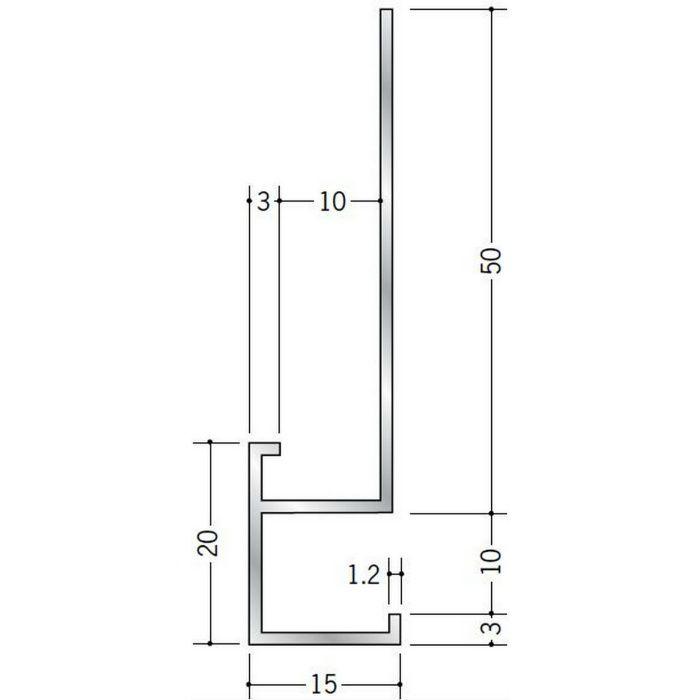 下がり壁用見切縁 アルミ D型22 シルバー 3m  52092