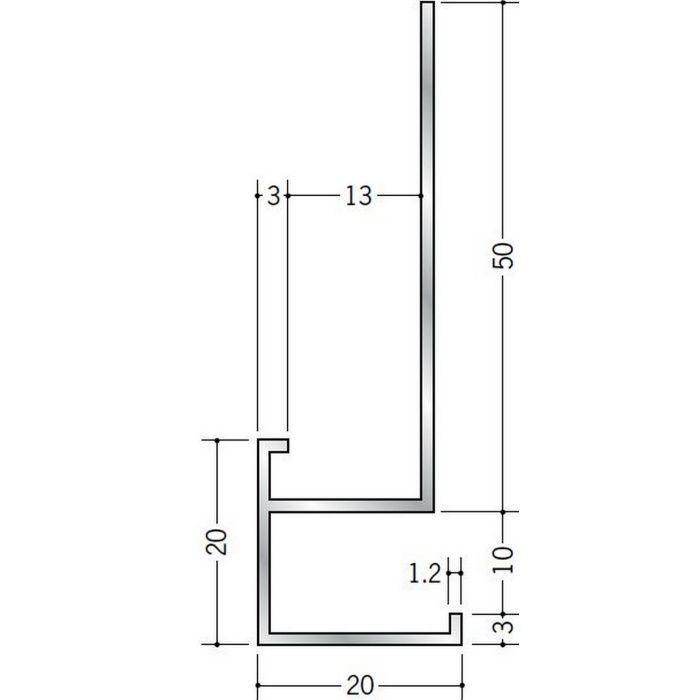 下がり壁用見切縁 アルミ D型28 シルバー 3m  52097