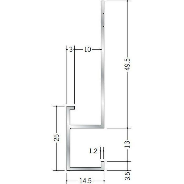 下がり壁用見切縁 アルミ D型16 シルバー 3m  52083