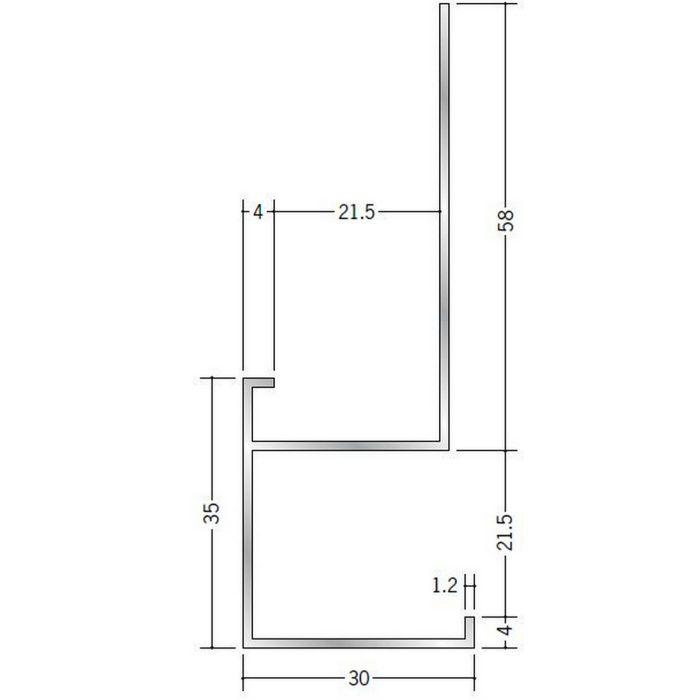下がり壁用見切縁 アルミ D型26 シルバー 3m  52096