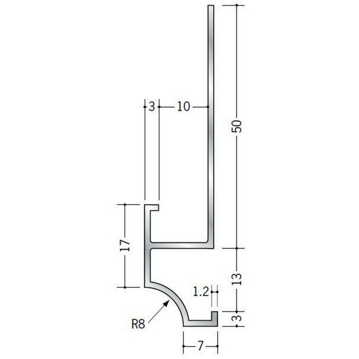下がり壁用見切縁 アルミ D型18 シルバー 3m  52086