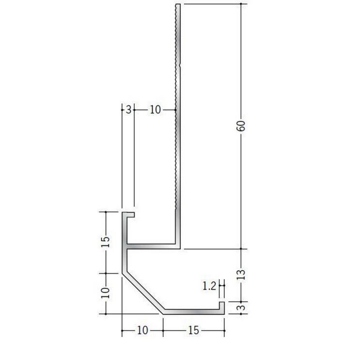 下がり壁用見切縁 アルミ D型21 シルバー 3m  52090
