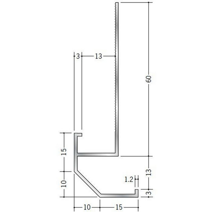 下がり壁用見切縁 アルミ D型20 シルバー 3m  52089