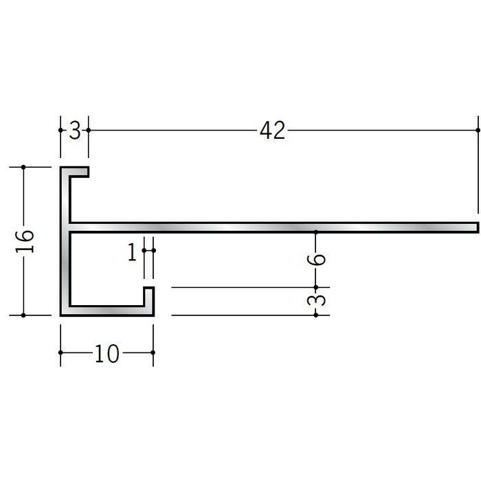 下がり壁用見切縁 アルミ D型34 シルバー 3m  52034