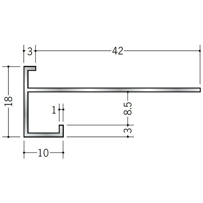 下がり壁用見切縁 アルミ D型33 シルバー 3m  52033