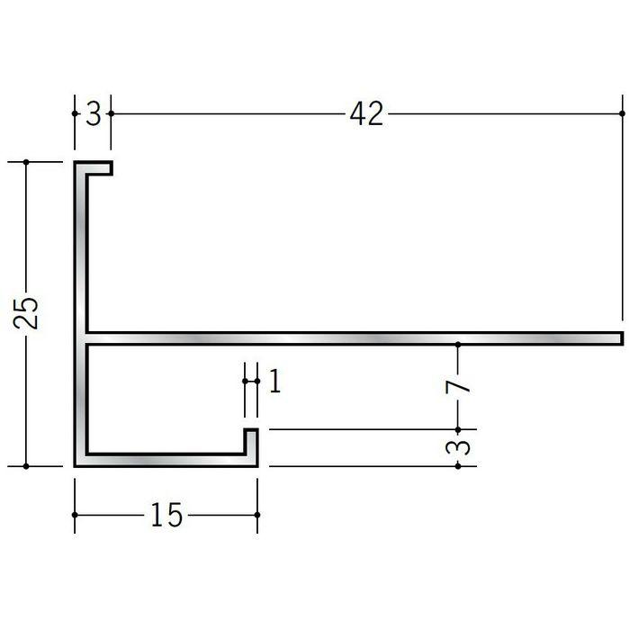 下がり壁用見切縁 アルミ D型75 シルバー 3m  52206
