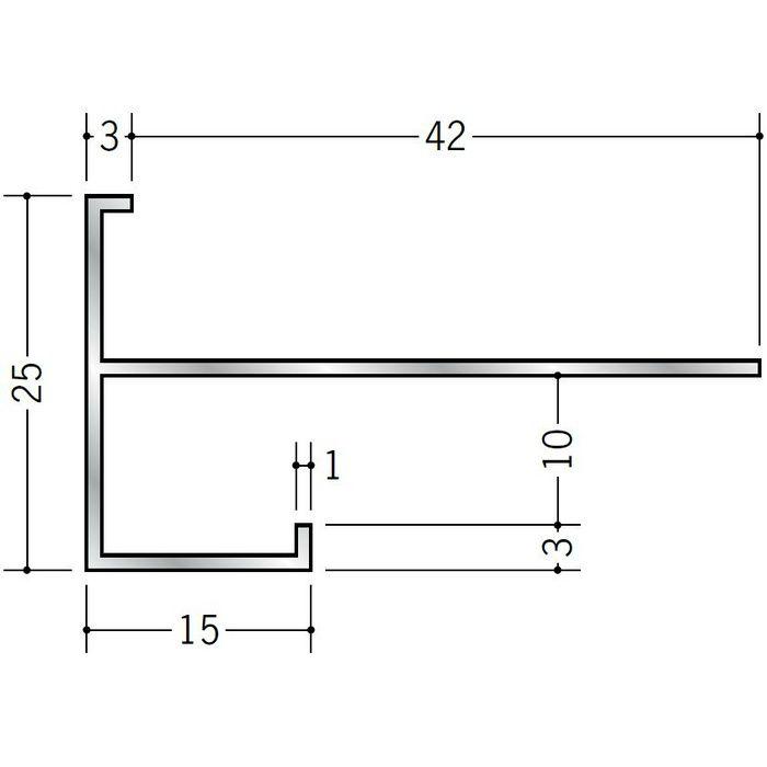 下がり壁用見切縁 アルミ D型77 シルバー 3m  52208