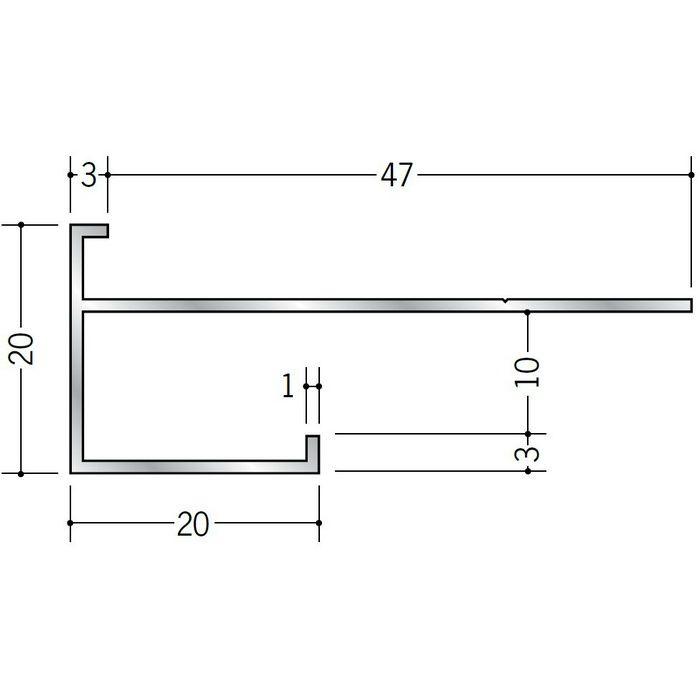 下がり壁用見切縁 アルミ D型38 シルバー 3m  52038