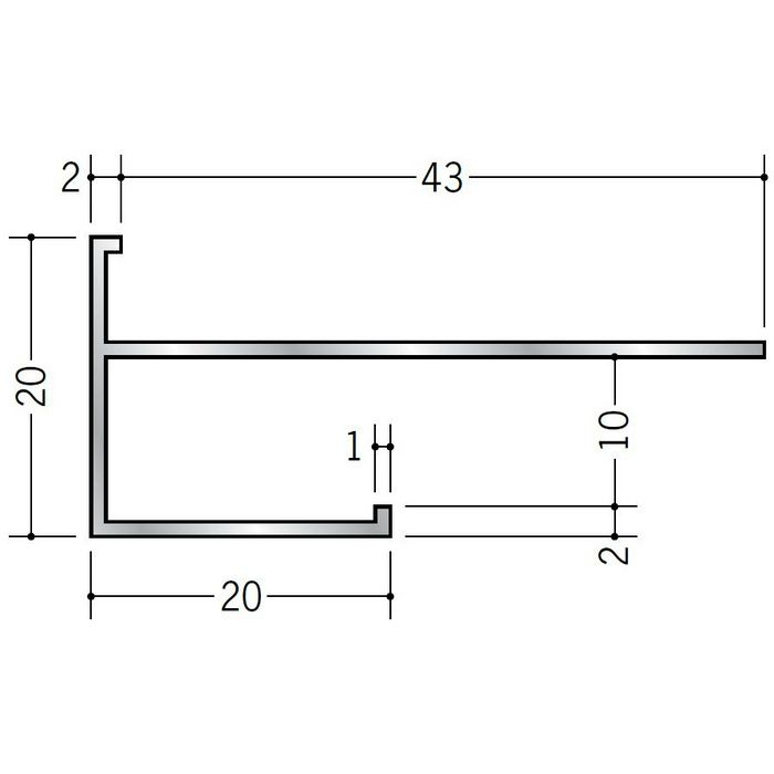 下がり壁用見切縁 アルミ D型72 シルバー 3m  52203