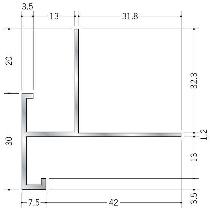 下がり壁用見切縁 アルミ D型89 シルバー 3m  52312