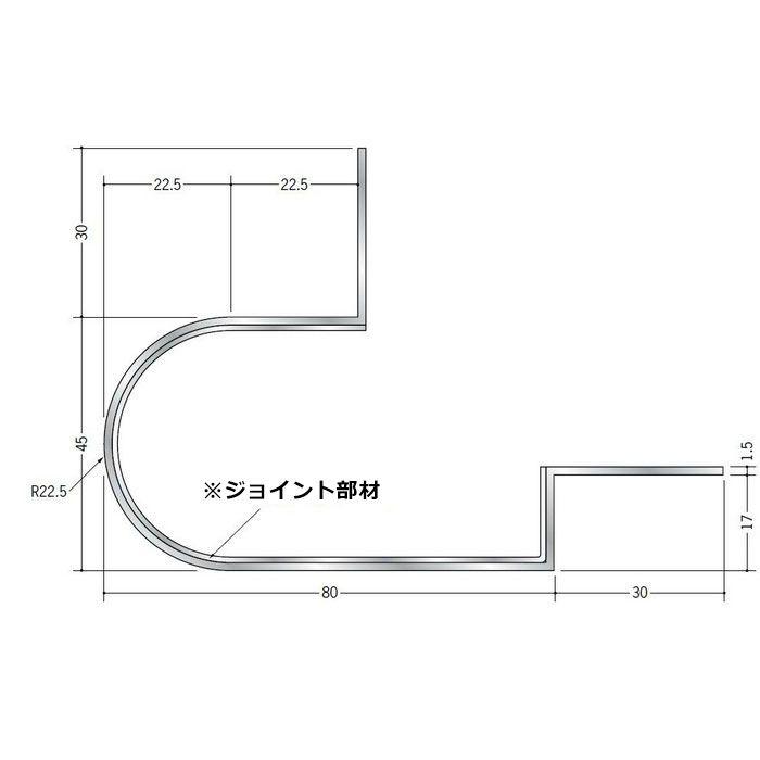 下がり壁用見切縁 アルミ DDR-200 シルバー 3m  52072