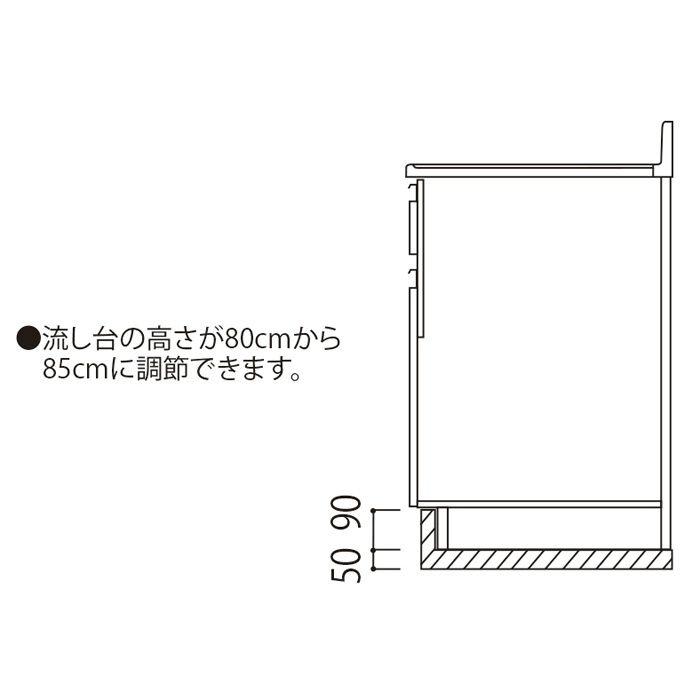 高さ調整用台輪(M3用) 間口60cm 木目 M3-600_L-M