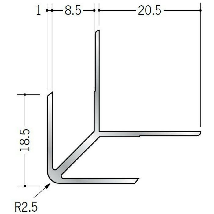 出隅ジョイナー アルミ DA-8.5 シルバー 3m  55018-2