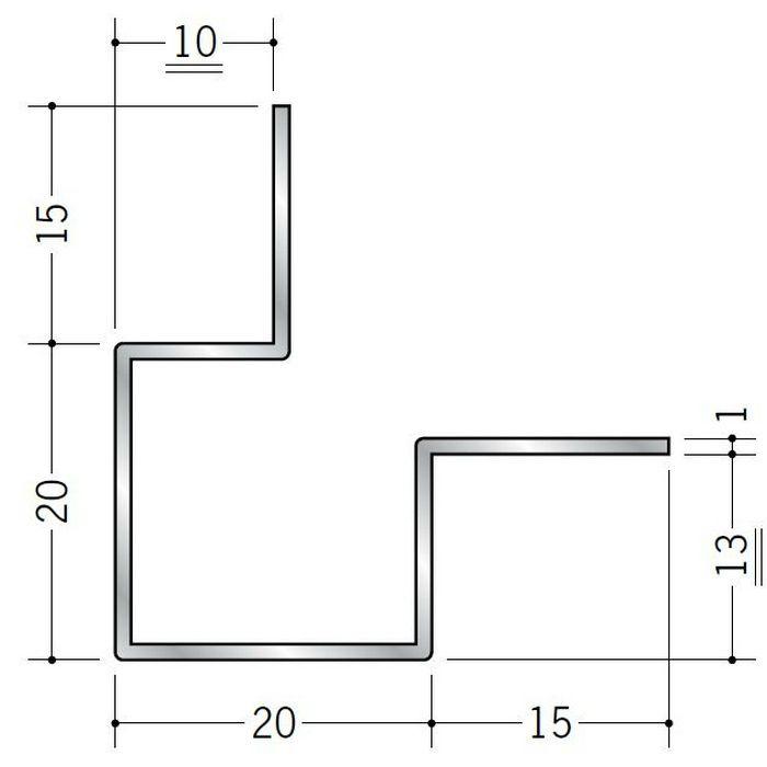 出隅ジョイナー アルミ 折曲げ貼り分け出隅9+12 シルバー 3m  50108
