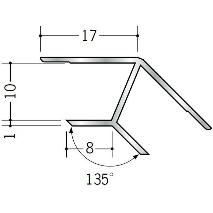 角度付ジョイナー 入隅 アルミ B135-10 シルバー 2.73m  52064