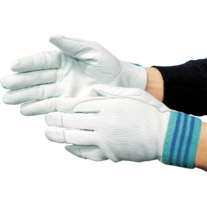 3208 国産牛革手袋 #12A デンコーアルミ 白 LL