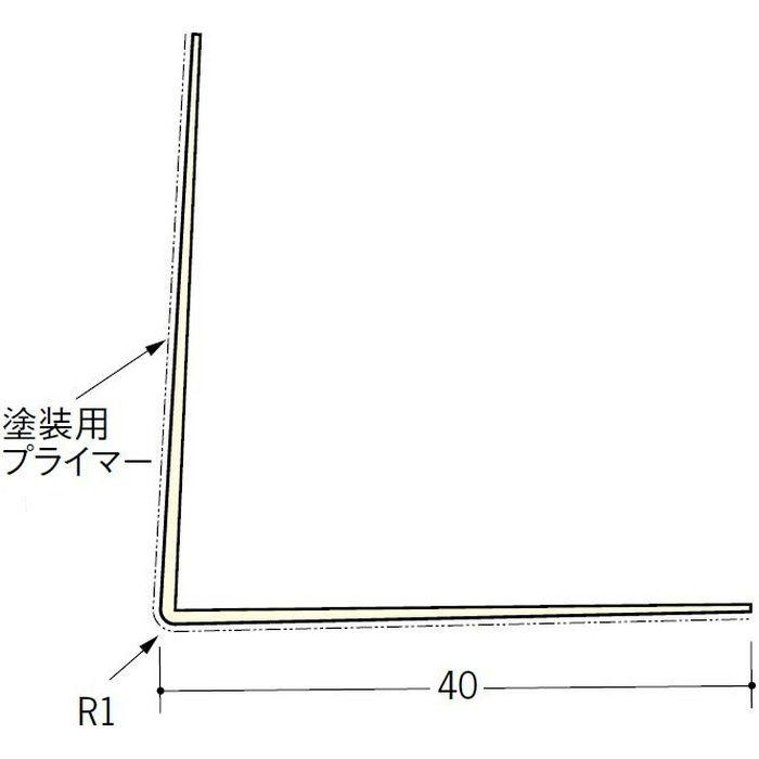 ペンキ・クロス下地材 出隅 ビニール L型コーナー40プライマー付 ミルキー 3m  01230-2