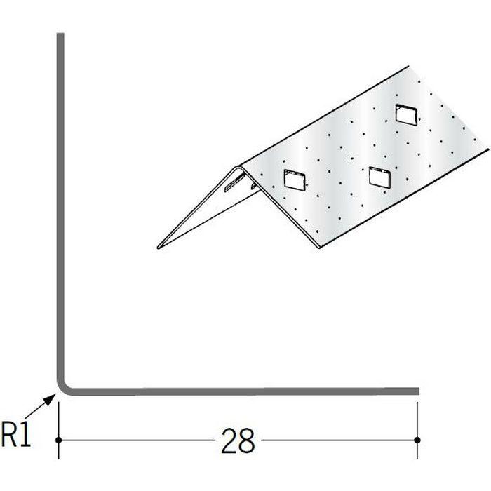 ペンキ・クロス下地材 出隅 金属 亜鉛角コーナー28 アエン 2.73m  01006