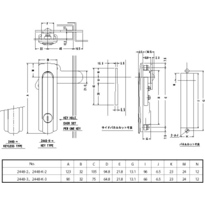 回転式平面ハンドル 2448-2