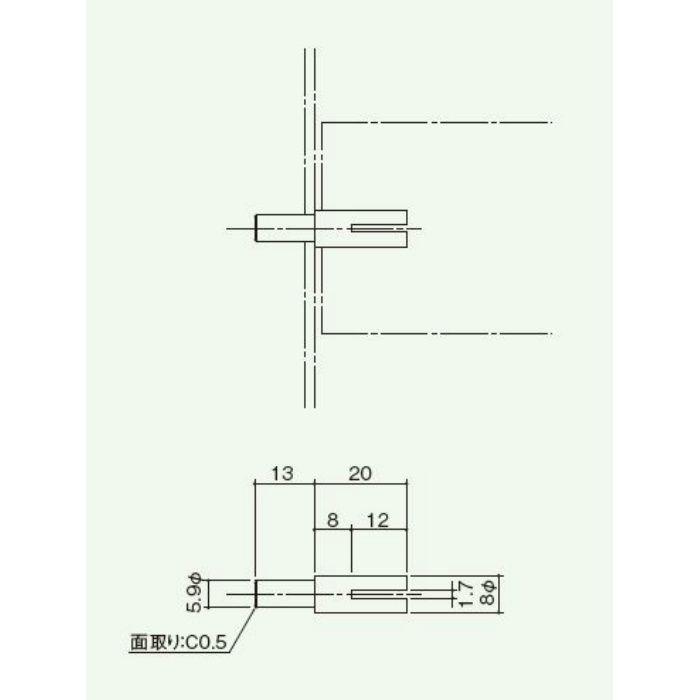 回転ガラリフューズ装置部品 回転ガラリ軸(501-13改良品) 501-14