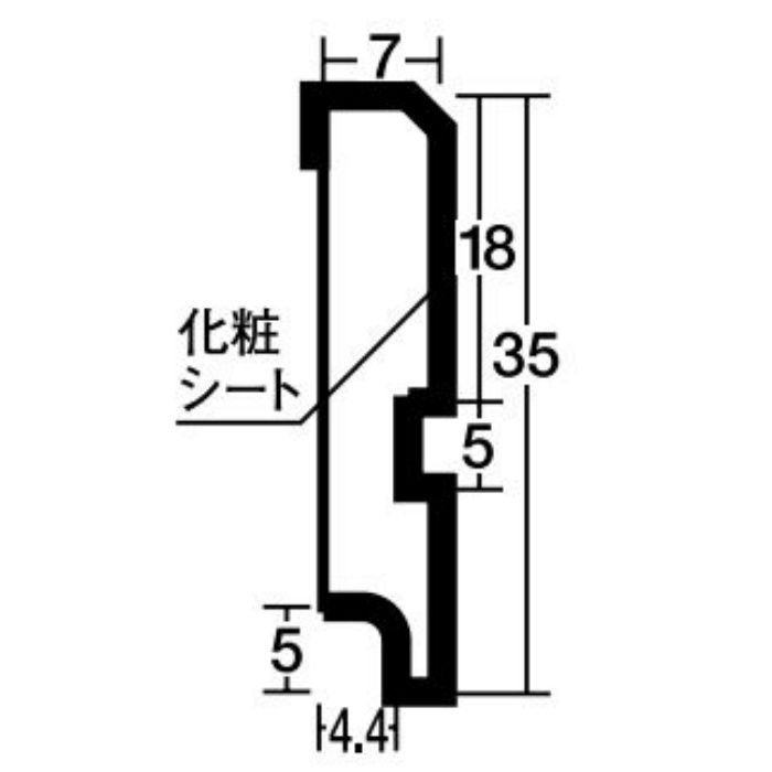 WU17 腰壁用壁紙 ウッドデコ部材 腰見切 4本/ケース