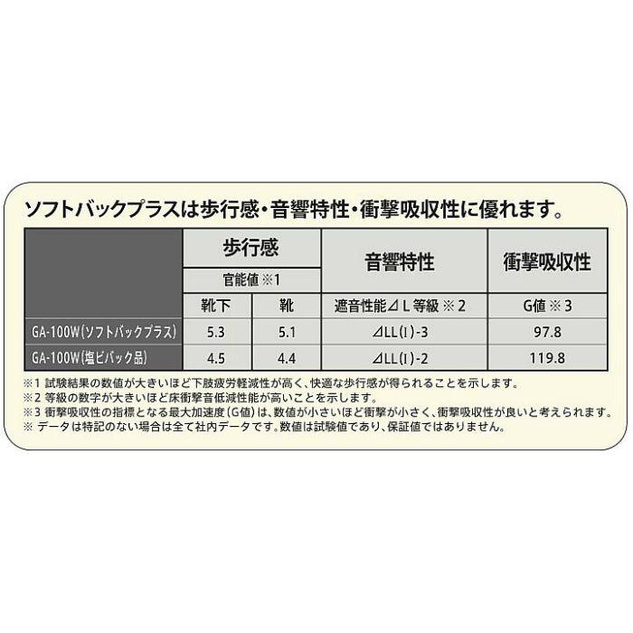 GA1703W-FB タイルカーペット GA-100 ソフトバックプラス GA-100W シルキーライン 4枚/セット